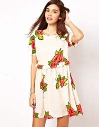 Smock dress in rose print at Asos
