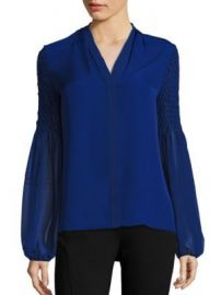 Smocked Georgette Silk Blouse by Elie Tahari at Saks Fifth Avenue