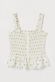 Smocked Linen-blend Top at H&M