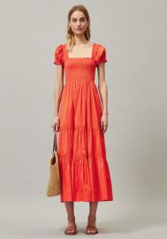 Smocked Midi Dress by Tory Burch at Tory Burch