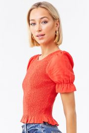 Smocked Ruffled Top at Forever 21