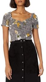 Smocked Short Sleeve Crossover Crop Top at Amazon
