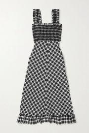 Smocked checked cotton-blend seersucker maxi dress at Net a Porter