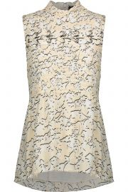 Smocked floral-print silk-georgette top at The Outnet