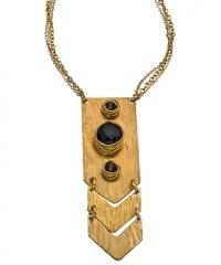 Smoky Quartz Onyx Chevron Necklace by Nashelle at Max & Chloe