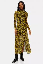 Smudge Print Mesh Midi Dress at Topshop