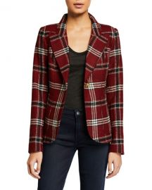 Smythe Duchess Patch-Pocket Plaid Blazer at Neiman Marcus