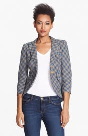 Smythe Leather Elbow Patch Check Linen Jacket at Nordstrom