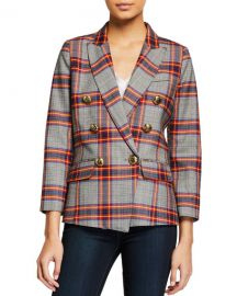 Smythe Mini Double-Breasted Plaid Blazer at Neiman Marcus