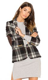 Smythe Peaked Lapel Blazer in Grey Plaid from Revolve com at Revolve