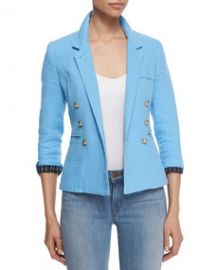 Smythe Rumpled Crepe Military Blazer Periwinkle at Neiman Marcus