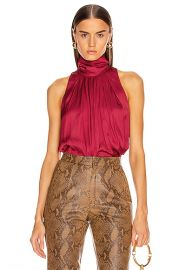 Smythe Sleeveless Turtleneck Blouse in Pomegranate   FWRD at Forward