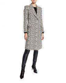 Smythe Zebra-Print Peaked-Lapel Overcoat at Neiman Marcus
