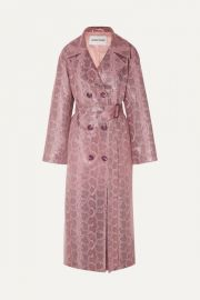 Snake-Effect Coated Vegan Leather Trench Coat by Stand Studio at Net A Porter