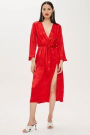 Snake Jacquard Knot Midi Dress at Topshop