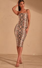 Snake Print Strappy Midi Dress by Pretty Little Thing at Pretty Little Thing
