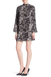Snake Printed Mock Neck Bell Sleeve Crepe Dress by Laundry by Shelli Segal at Nordstrom Rack