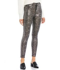 Snake Skin Print Metallic High Waist Ankle Skinny Jeans at Dillards
