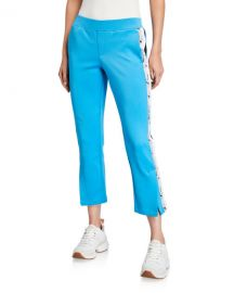 Snake-Stripe Crop Flare Track Pants at Neiman Marcus