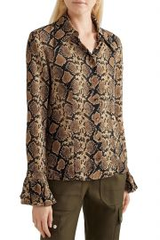 Snake-print silk crepe de chine shirt at The Outnet