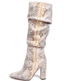 Snakeskin Boots Mid-Calf Boots by ISNOM at Amazon