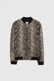Snakeskin Print Sequinned Bomber Jacket at Zara