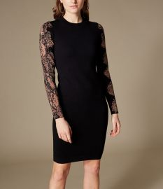 Snakeskin-Print Sleeve Dress at Karen Millen