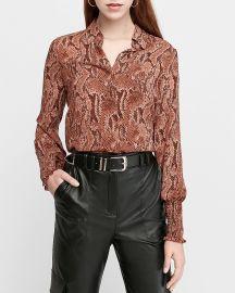 Snakeskin Print Smocked Cuff Shirt at Express