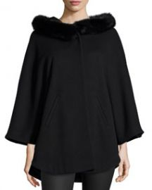 Sofia Cashmere Cape W Fur-Trimmed Hood at Neiman Marcus