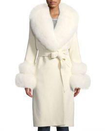 Sofia Cashmere Fur Shawl-Collar  amp  Double-Cuff Coat at Neiman Marcus