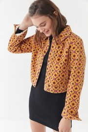 Sofie Printed Corduroy Cropped Jacket at Urban Outfitters