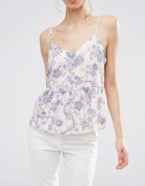 Soft Gathered Pretty Cami Top in Floral at Asos
