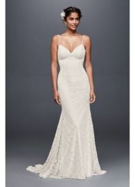 Soft Lace Wedding Dress with Low Back at Davids Bridal