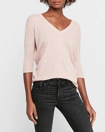 Soft Waffle Knit V-Neck London Tee at Express