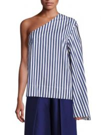 Solace London - Freja Cotton Poplin One-Shoulder Top at Saks Fifth Avenue