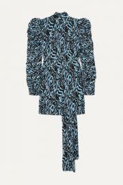 Solace London - Marne printed pliss  -chiffon mini dress at Net A Porter