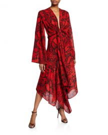 Solace London Nelli Tie-Front Snake-Print Long Dress at Neiman Marcus