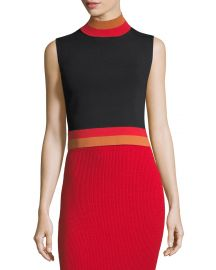 Solace London Sleeveless Cropped Turtleneck Rib-Knit Top   Neiman at Neiman Marcus