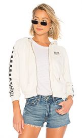 Solid  amp  Striped x RE DONE The Malibu Hooded Zip Sweatshirt in Dirty White from Revolve com at Revolve