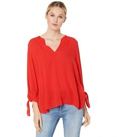 Solid V-Neck Tie Sleeve Top at Zappos