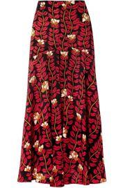 Sonia Rykiel - Printed silk crepe de chine midi skirt at Net A Porter