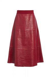 Sosie Croc Leather Midi Skirt at Orhcard Mile