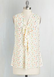 South Florida Spree Top in Ivory Dots at ModCloth