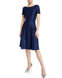Sparkle Sequin Bateau-Neck Pleated Cocktail Dress at Last Call