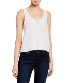 Sparkle Thermal Cropped Henley Tank by Chaser at Last Call