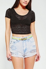 Sparkle and Fade Geo Mesh Cropped Tee at Urban Outfitters