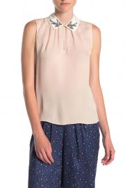 Sparrow Embroidered Collared Silk Blouse by Rebecca Taylor at Nordstrom Rack