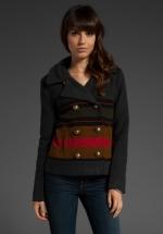 Spencer's grey striped coat at Revolve