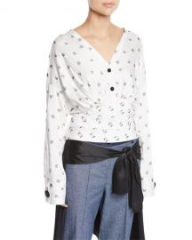 Sphinx V-Neck Cosmic-Print Fil Coupe Blouse at Last Call