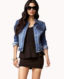 Spiked denim jacket at Forever 21